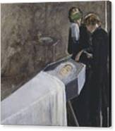 The Artist Attending The Mourning Of A Young Girl Canvas Print