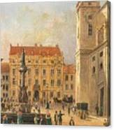 The Austria Fountain On The Freyung In Vienna With Rich Figural Canvas Print