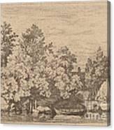 The Cudgel Dam And Covered Bridge Canvas Print