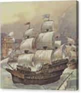 The Fleet Of Jean Ango Blocks The Tagus Canvas Print