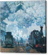 The Gare Saint-lazare Arrival Of A Train Canvas Print