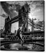 The Girl And The Dolphin - London Canvas Print