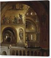 The Interior Of St Marks Basilica Venice Frederick Leighton Canvas Print