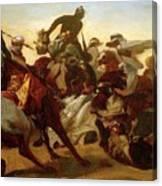 The Lion Hunt Horace Vernet Canvas Print