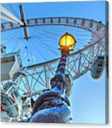 The London Eye And Street Lamp Canvas Print