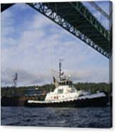 The New Tacoma Narrows Bridge - Foss Tug Canvas Print