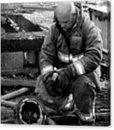 The Praying Firefighter Black And White Canvas Print