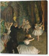 The Rehearsal Of The Ballet On Stage Canvas Print