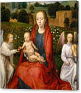 The Virgin And Child Between Two Angels Canvas Print