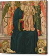 The Virgin And Child Enthroned With Angels Canvas Print