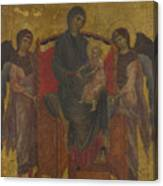 The Virgin And Child Enthroned With Two Angels Canvas Print
