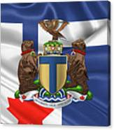 Toronto - Coat Of Arms Over City Of Toronto Flag  Canvas Print
