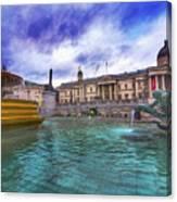 Trafalgar Square Fountain London 5 Art B Canvas Print