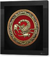 Treasure Trove - Sacred Golden Scorpion On Black Canvas Print