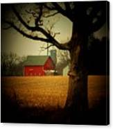 Tree And Barn Canvas Print