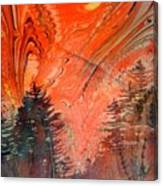 Trees On Red Marbled Paper Canvas Print