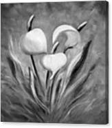 Tropical Flowers In Black And White Canvas Print