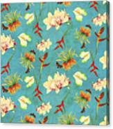 Tropical Island Floral Half Drop Pattern Canvas Print