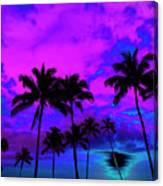Tropical Palm Trees Silhouette Sunset Or Sunrise Canvas Print