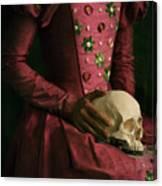 Tudor Woman Holding A Human Skull Canvas Print
