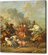 Two Battle Scenes Between Christians And Saracens Canvas Print