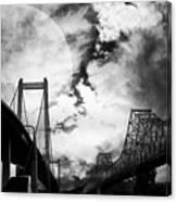 Two Bridges One Moon Canvas Print