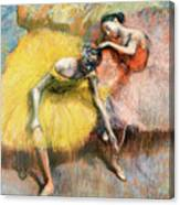 Two Dancers In Yellow And Pink Canvas Print