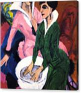 Two Women With A Washbasin Canvas Print