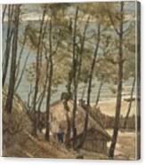 View From A Hill On A House On The Gulf Of Arcachon, August Allebe 1876 Canvas Print