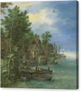 View Of A Village Along A River Canvas Print