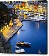 View Of The Harbour At Dusk  Portofino Canvas Print