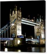 View Of The River Thames And Tower Bridge At Night Canvas Print