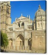 View Of Toledo Cathedral In Sunny Day, Spain. Canvas Print