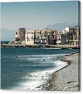 Village And Shingle Beach Of Erbalunga In Corsica Canvas Print