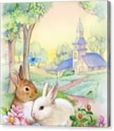 Vintage Easter Bunnies Canvas Print