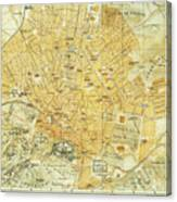 Vintage Map Of Athens Greece - 1894 Canvas Print