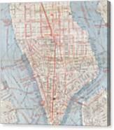 Vintage Map Of Lower Manhattan  Canvas Print