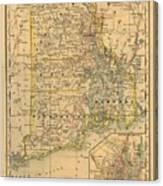 Vintage Map Of Rhode Island  Canvas Print