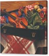 Violin Case And Flowers Canvas Print