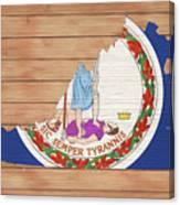 Virginia Rustic Map On Wood Canvas Print