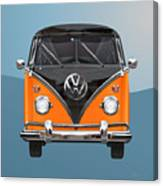 Volkswagen Type 2 - Black And Orange Volkswagen T 1 Samba Bus Over Blue Canvas Print