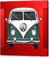 Volkswagen Type 2 - Green and White Volkswagen T 1 Samba Bus over Red Canvas  Canvas Print