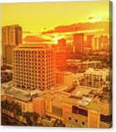 Waikiki City Sunset Canvas Print