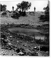 Water Hole Dead Cattle Cowboys  Drought Tohono O'odham Indian Reservation Near Sells Az 1969 Canvas Print