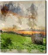 Watercolor Painting Of Beautiful Summer Vibrant Sunset Over Coun Canvas Print