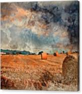 Watercolour Painting Of Beautiful Golden Hour Hay Bales Sunset L Canvas Print
