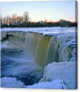 Waterfall With Bluish Icicles Canvas Print