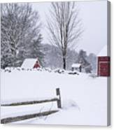 Wayside Inn Grist Mill Covered In Snow Storm Canvas Print