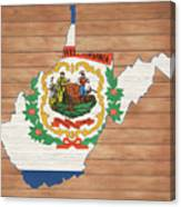 West Virginia Rustic Map On Wood Canvas Print