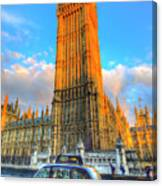 Westminster Bridge And Taxi Canvas Print